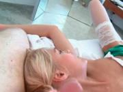 Blonde nymph Sasha blowing BFs cock and fingering pussy