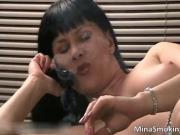 Incredible horny brunette slut wanking moist snatch whi
