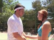 Two besties sucks off and hard fucked with tennis coach