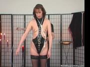 Brunette slut is all tied and that horny dude is going