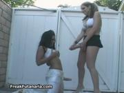 Two sexy girls go crazy pissing to a bucket with their