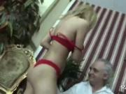 Blonde Babe Riding Handicapped Man Dong
