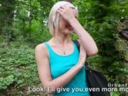 Petite Euro blonde fucks stranger in forest