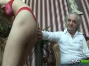 Filthy Young Blonde Passionately Fucks Old Guy With Han
