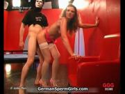 Two very horny german girls are sharing sperm coming ou