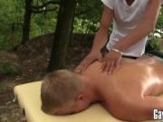 Gorgeous dudes having rough sex after a outdoor massage