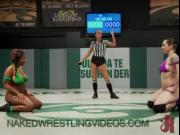Interracial lesbian wrestling match