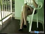 Shy Girl Wearing Her High Heels