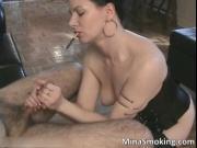 Horny dark haired slut with sexy body sucking big fat c