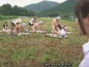 Subtitle CFNM Japanese milking semen under the blue sky