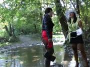 two nasty babes in the river gets horny when uses mud 4