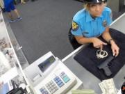 Busty lady police officer pawn her pussy