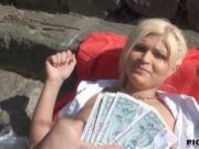 Hot blonde Czech slut Kitty Rich fucked in public for m