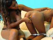 Ebony babes toying pussies