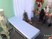 Doctor fucks brunette in an office