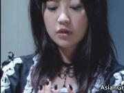 Nasty asian housewife and brunette lady getting banged