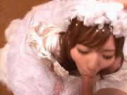 Sexy Asian redhead babe disguised as a bride has massi