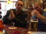 Amazing dude and his father are sitting in bar and talk