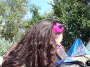 Kinky amateur brunette Eurobabe Aurelly Rebel public fu