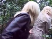 Oral Threesome In The Woods