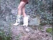 Filthy teenage bimbo just goes down and takes long piss