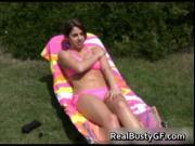 Barely legal busty teen sunbathing in bikini 1 by RealB