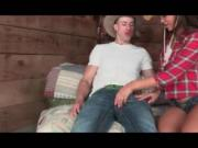 Sexy cowboy gets his huge cock sucked in a barn