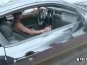 Bikini carwash team member blows cock