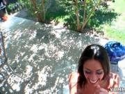 Sexy brunette with awesome tits and butt grabs a cock a