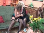 Nasty old and young lesbians go crazy rubbing and licki