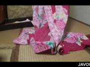 Japanese sex doll dressing as geisha and flashing asset