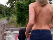 Czech slut Blanka Grain flashes her big tits and pounde