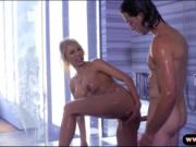 Booby blonde babe pounded in shower room