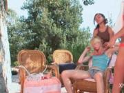 Natasha Shys rubbing her roped GFs pink snatch in 3some