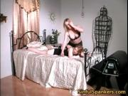 Two hot horny nasty big boobed babes spanking their gre