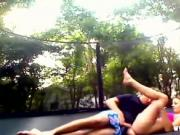 Fucking my sister on the trampoline