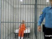 Horny blonde blows prison guard