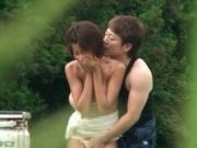 Sexy asian babe gets horny making out outdoor by JPNOut