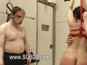 smart violently banged bdsm babe with ropes