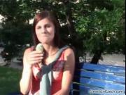 Cute brunette girl gets horny outdoor by StreetsInCzech