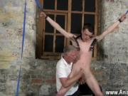Sexy gay Sean McKenzie is roped up and at the mercy of