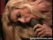 Amazing hot blonde MILF slut sucking big black cock lik