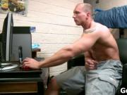Muscled straight guy jerking his firm jizzster 1 by got