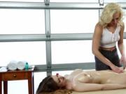 Sexy Tiffany Watson gives hot Stella Cox full body oil