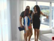 Big titty MILF Jamie Valentine grabs teen Vanessa Spark