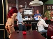 Busty milf waitress Ryder Skye anal fucked on pool tabl