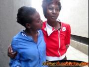 Ebony sluts kiss passionately
