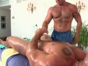 Muscled stud blowing masseurs gay dick in sixtynine