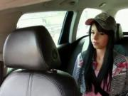 Brunette model fucked in fake taxi