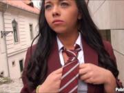 Slutty schoolgirl flashes her boobs in public and fucke
